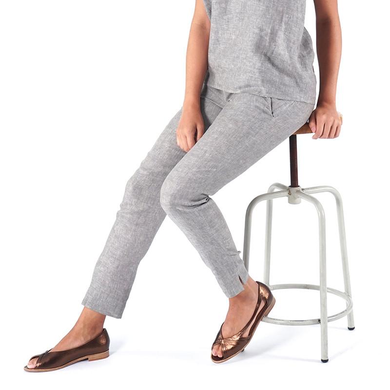 Pantalón 100% lino verdoso