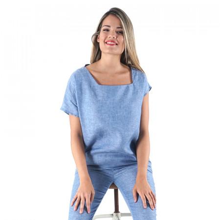 Indigo linen blouse Abad