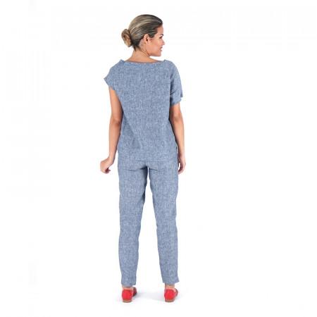Blusa 100% lino azul y pantalón 100% lino azul