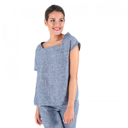 Blusa de lino azul con mangas asimétricas Dona Kolors