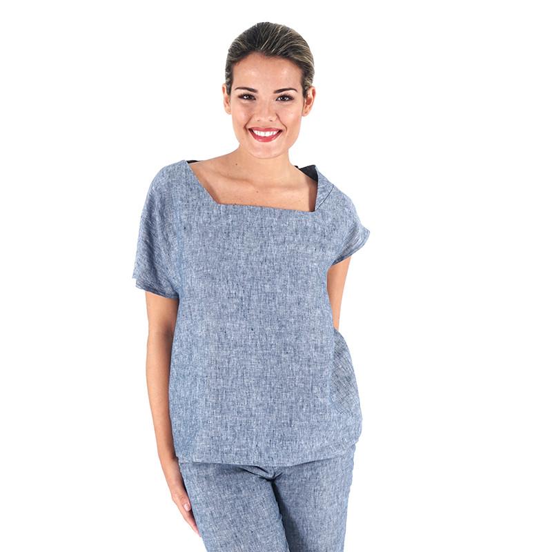Blusa de lino azul