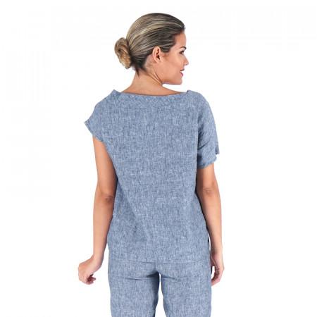 Brusa blava de lli amb mànigues asimètriques Dona Kolors