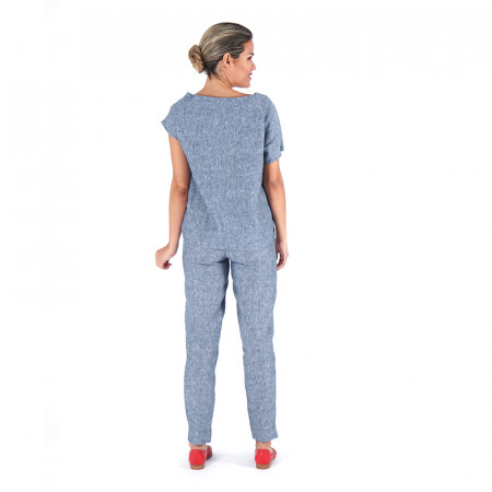 Brusa blava/verdosa 100% lli i pantaló blau/verdós 100% lli