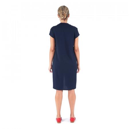 Vestit blau marí de punt drapejat Dona Kolors