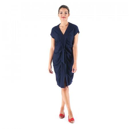 Vestido de punto azul marino drapeado