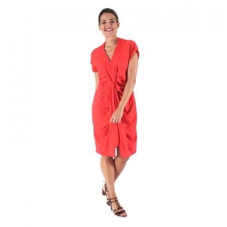Vestido drapeado de punto rojo