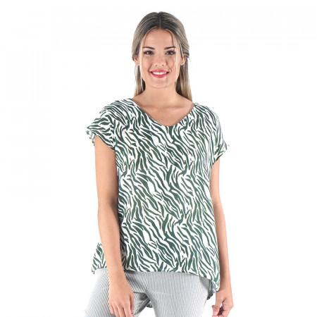 Blusa 100% viscosa estampada zebra verde con espalda en pico Dona Kolors