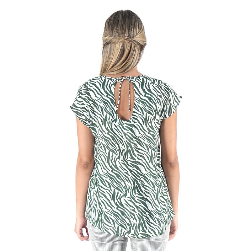 Blusa 100% viscosa estampada zebra verde con espalda en pico