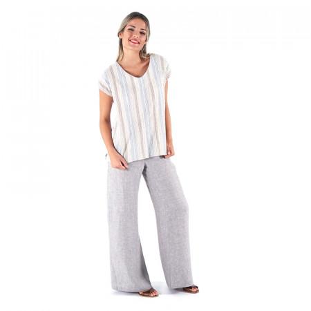 Blusa estampada a rayas rojas/azules djakarta con espalda en pico y pantalón recto 100% lino Dona Kolors