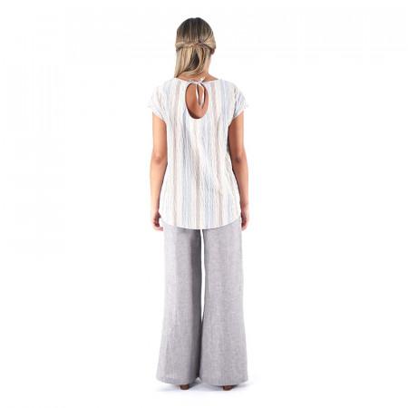Blusa estampada a rayas rojas/azules djakarta con espalda en pico y pantalón recto 100% lino