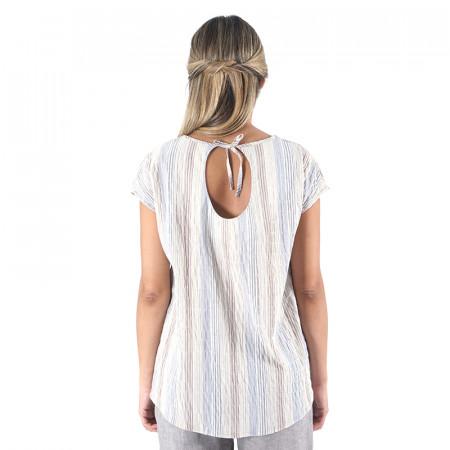 Blusa estampada a rayas azules con espalda en pico Dona Kolors
