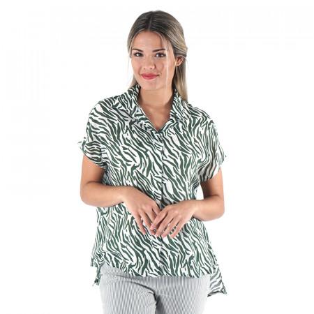 Green animal print blouse...
