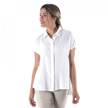 Blusa camisera cruda en voile de algodón