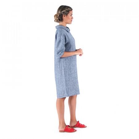 Vestido verdoso/azul 100% lino
