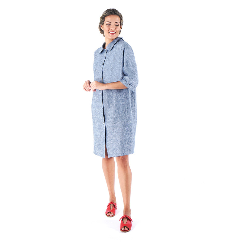 Vestido de lino azul Dona Kolors.