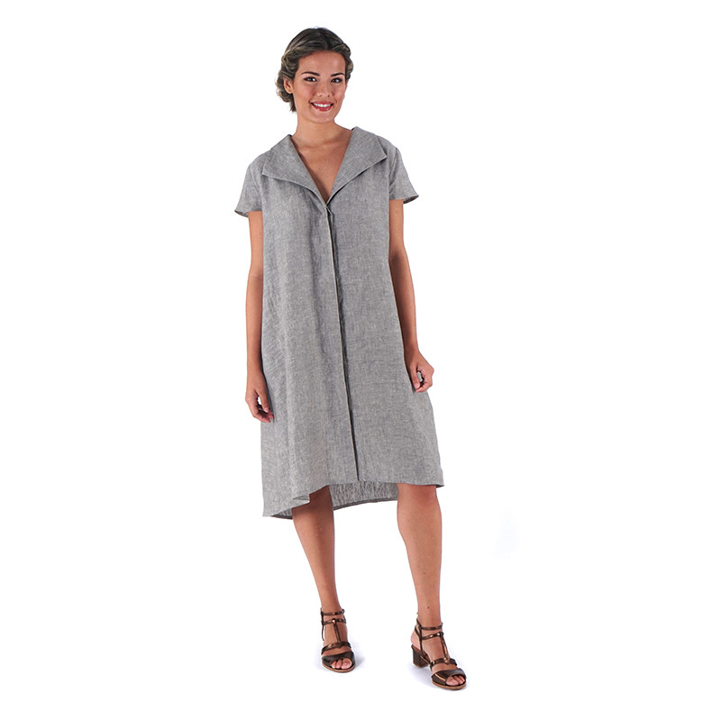 Vestit verdós 100% lli i llarg asimètric