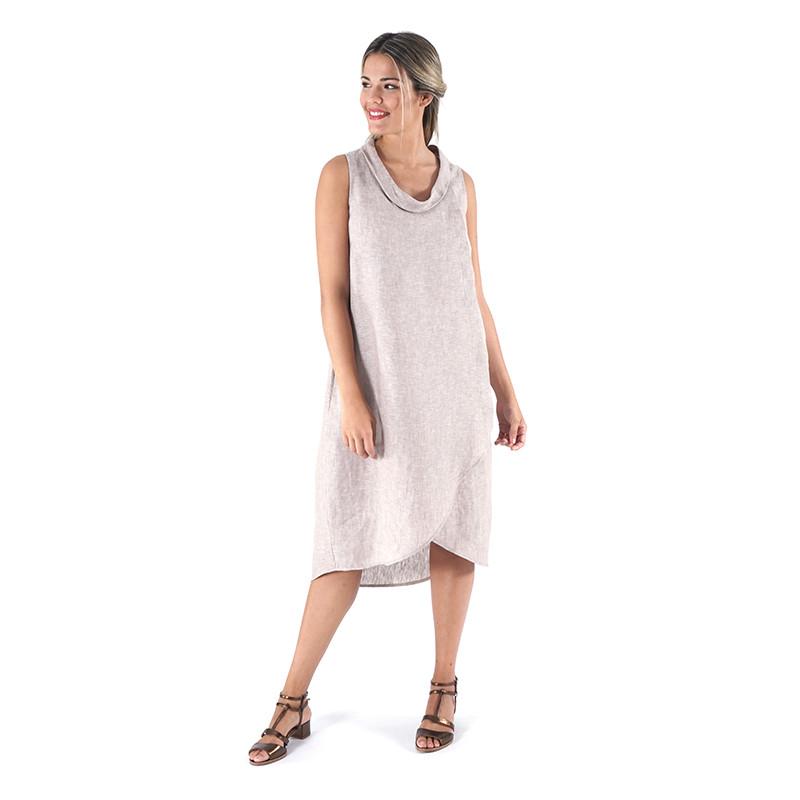 Vestido beige 100% lino