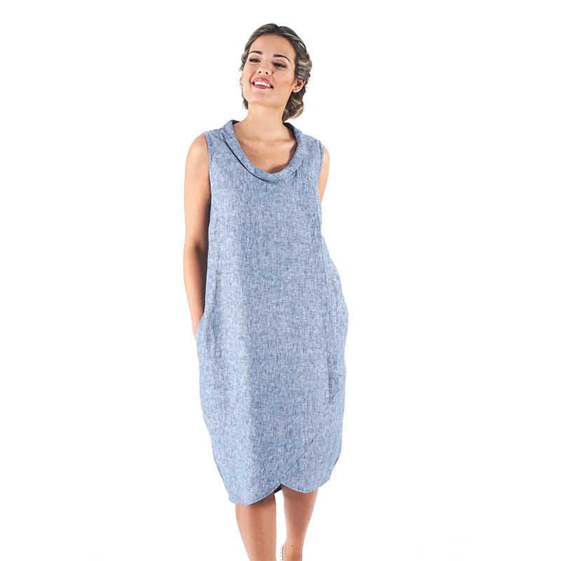 Vestido azul 100% lino