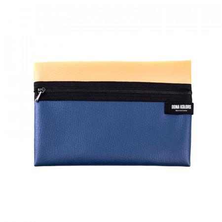 Necesser rectangular blau i ocre
