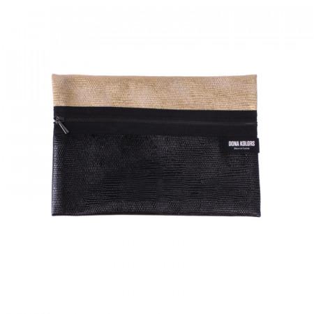 Neceser rectangular negro metalizado