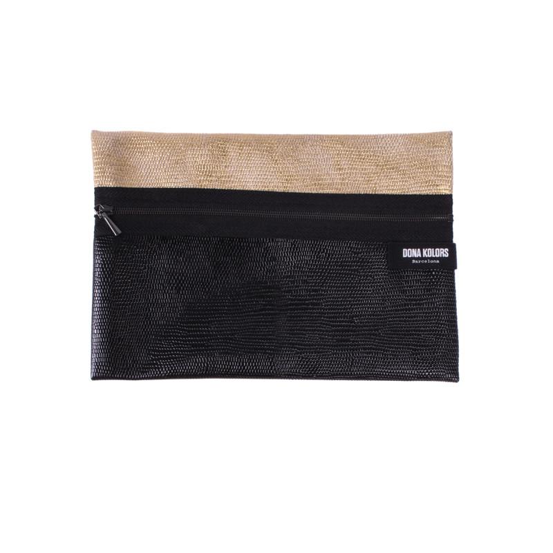 Necesser rectangular de polipiel pell sintètica negra metal·litzada