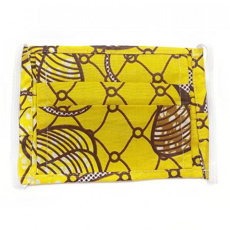 Mascarilla amarilla de tela africana con filtro