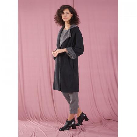 Abric creuat de vellut gris amb butxaques Dona Kolors