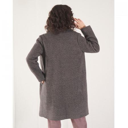 Abric de llana gris boucle amb butxaques i solapa Dona Kolors