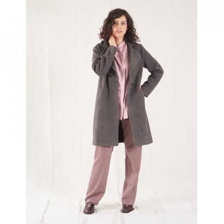 Abric de llana gris boucle amb butxaques i solapa