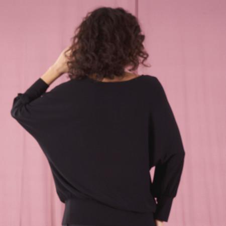 Samarreta negra de viscosa amb puny Dona Kolors