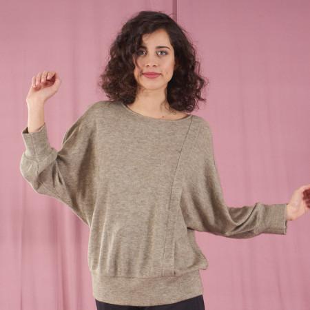 Green knit blouse Febe