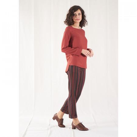 Conjunto de blusa teja de viscosa y pantalón de rayas Dona Kolors