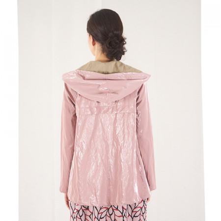 Gavardina impermeable amb caputxa rosa metal·litzada Dona Kolors