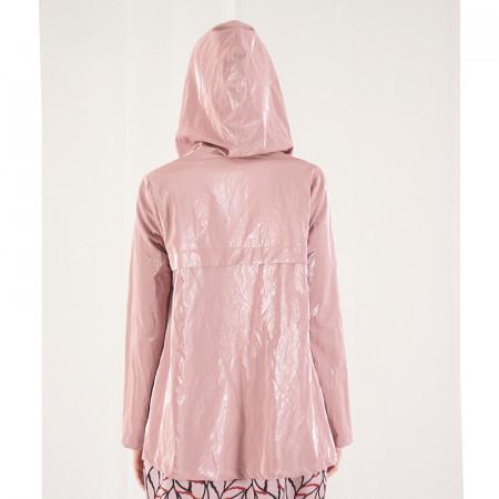 Gavardina impermeable amb butxaques i caputxa rosa metal·litzada Dona Kolors