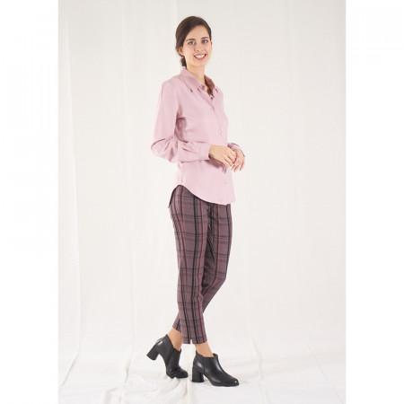 Blusa camisera rosa i pantaló a quadres Dona Kolors