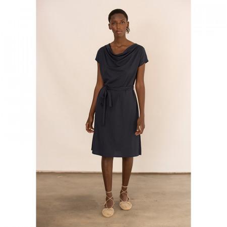 Vestit blau de lli i viscosa nuat a la cintura amb màniga caiguda