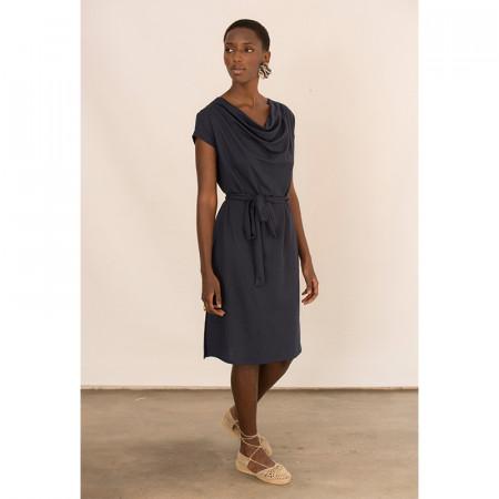Vestit blau de lli i viscosa amb màniga caiguda