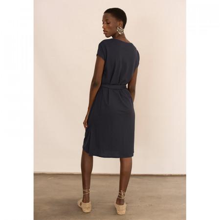 Vestido azul atado en la cintura con manga caída Dona Kolors