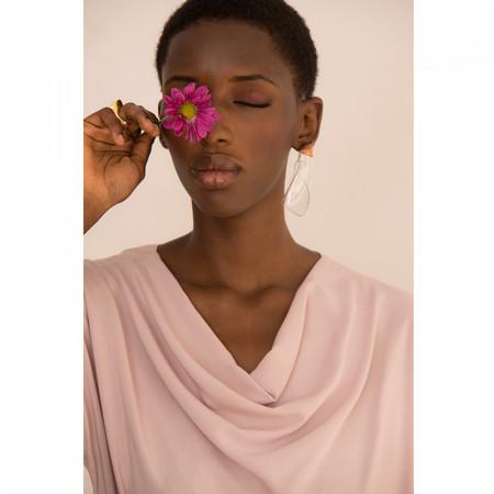 Vestit rosa de viscosa amb màniga caiguda i coll drapiat