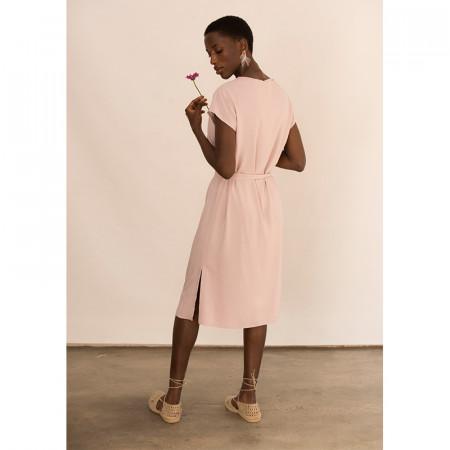 Vestit rosa de viscosa nuat a la cintura