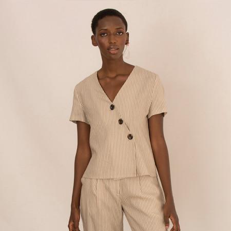 Blusa de lino y viscosa a rayas beige