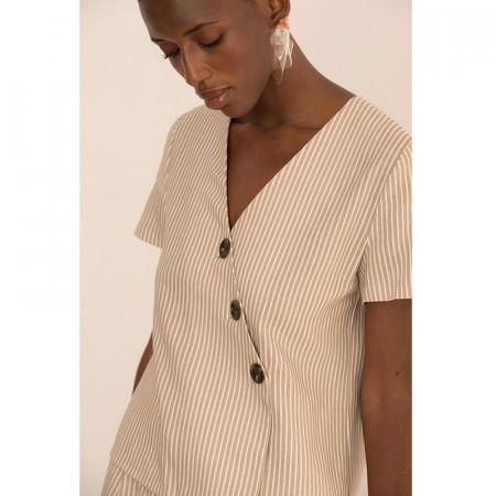 Blusa de lino y viscosa a rayas beige Dona Kolors