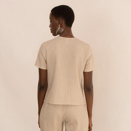 Blusa de lino y viscosa a rayas beige y manga corta