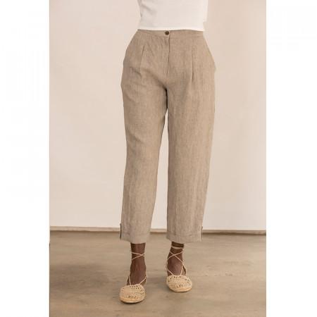 Pantalón corsario de lino kaki con bolsillos