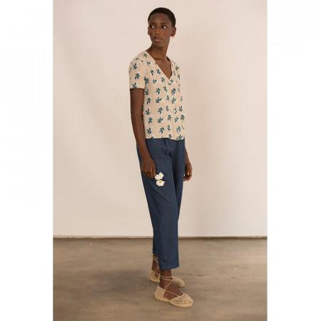 Conjunto de blusa y pantalón corsario azul denim