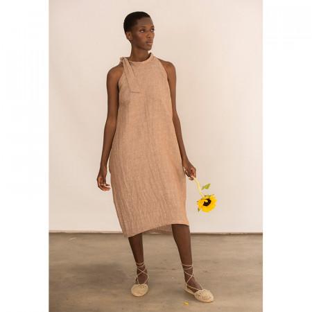 Vestido de lino tobacco con bolsillos