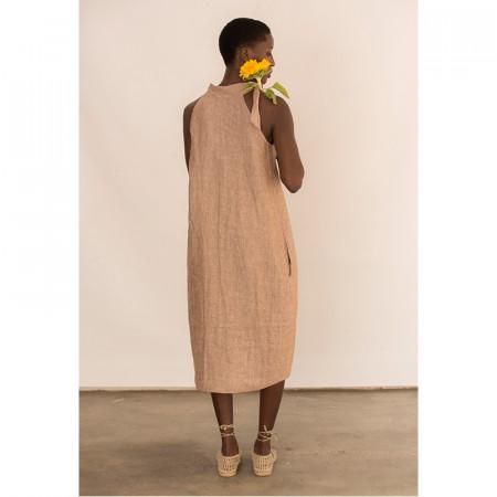 Vestido de lino tobacco con bolsillos Dona Kolors