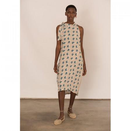 Beige leaves print dress Bless