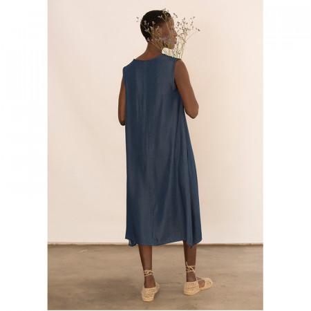 Vestit blau de tencel sense mànigues Dona Kolors