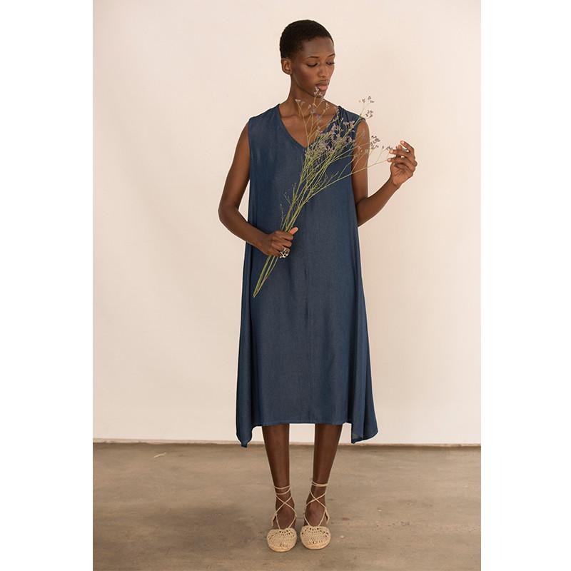 Vestido azul de tencel sin mangas
